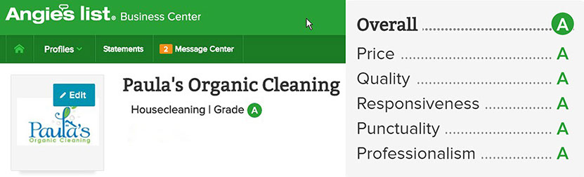 Comments Angies List - Paula's Organic Cleaning Services